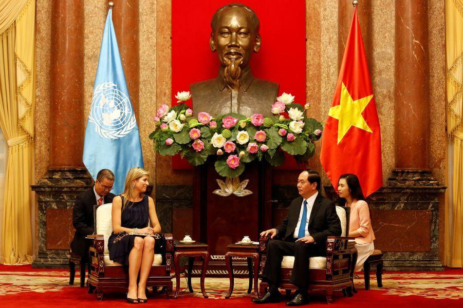 La reine Maxima des Pays-Bas avec le président vietnamien Trân Dai Quang à Hanoï, le 31 mai 2017