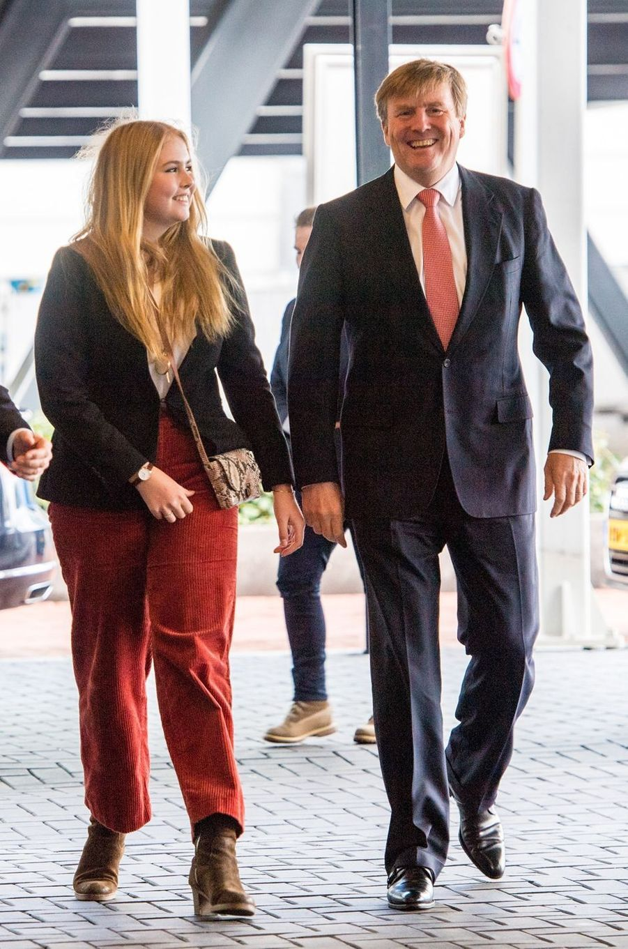 La princesse héritière Catharina-Amalia et le roi Willem-Alexander des Pays-Bas à Amsterdam, le 27 janvier 2019