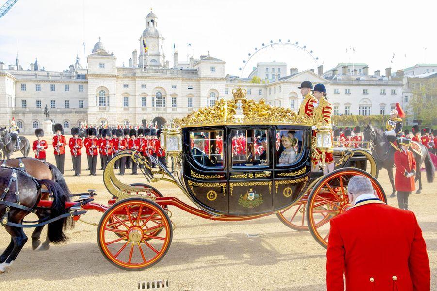 La reine Maxima des Pays-Bas avec le prince Charles et Camilla à Londres, le 23 octobre 2018