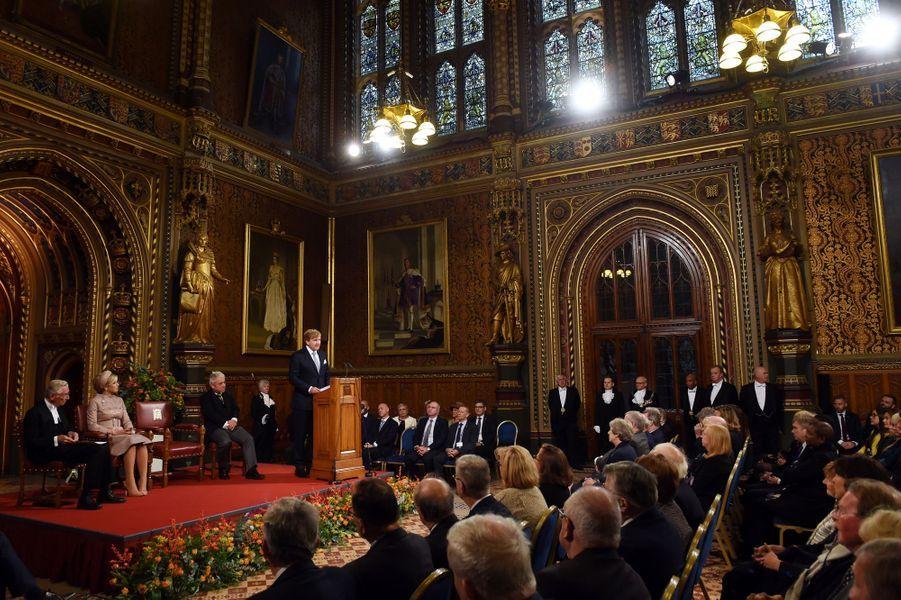 La reine Maxima et le roi Willem-Alexander des Pays-Bas au Parlement de Westminster à Londres, le 23 octobre 2018