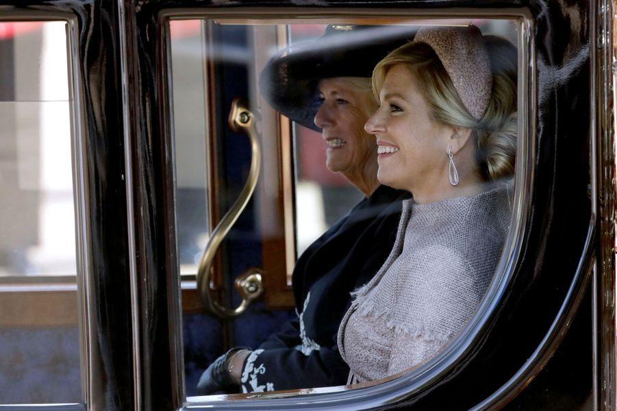 La reine Maxima des Pays-Bas et la duchesse Camilla de Cornouailles à Londres, le 23 octobre 2018