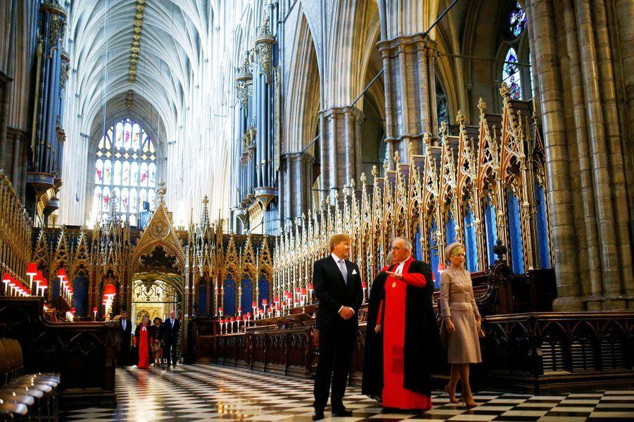 La reine Maxima et le roi Willem-Alexander des Pays-Bas à l'abbaye de Westminster, le 23 octobre 2018