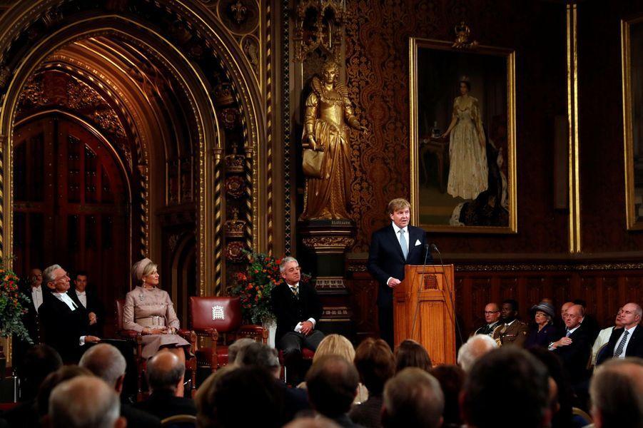 La reine Maxima et le roi Willem-Alexander des Pays-Bas au Parlement de Westminster, le 23 octobre 2018