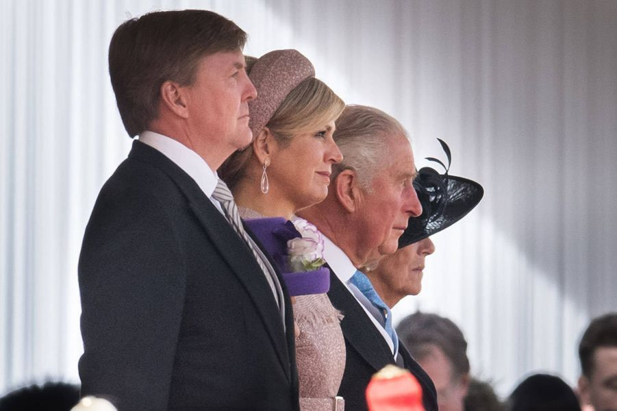La reine Maxima et le roi Willem-Alexander des Pays-Bas avec le prince Charles et Camilla à Londres, le 23 octobre 2018