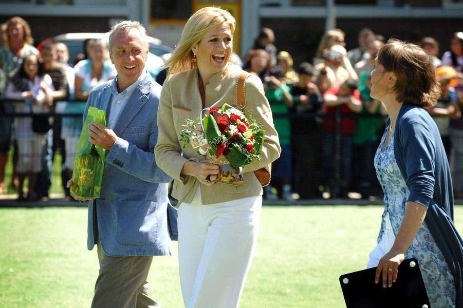 La princesse Maxima des Pays-Bas et Johan Cruyff à La Haye, le 2 juin 2009