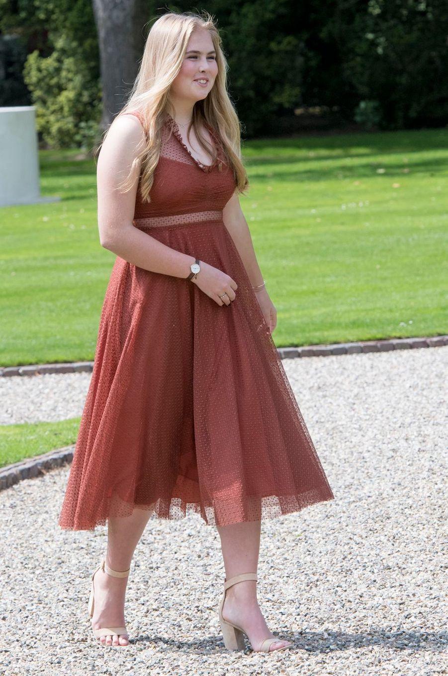 La princesse Catharina-Amalia des Pays-Bas dans une robe Sandro à La Haye, le 19 juillet 2019
