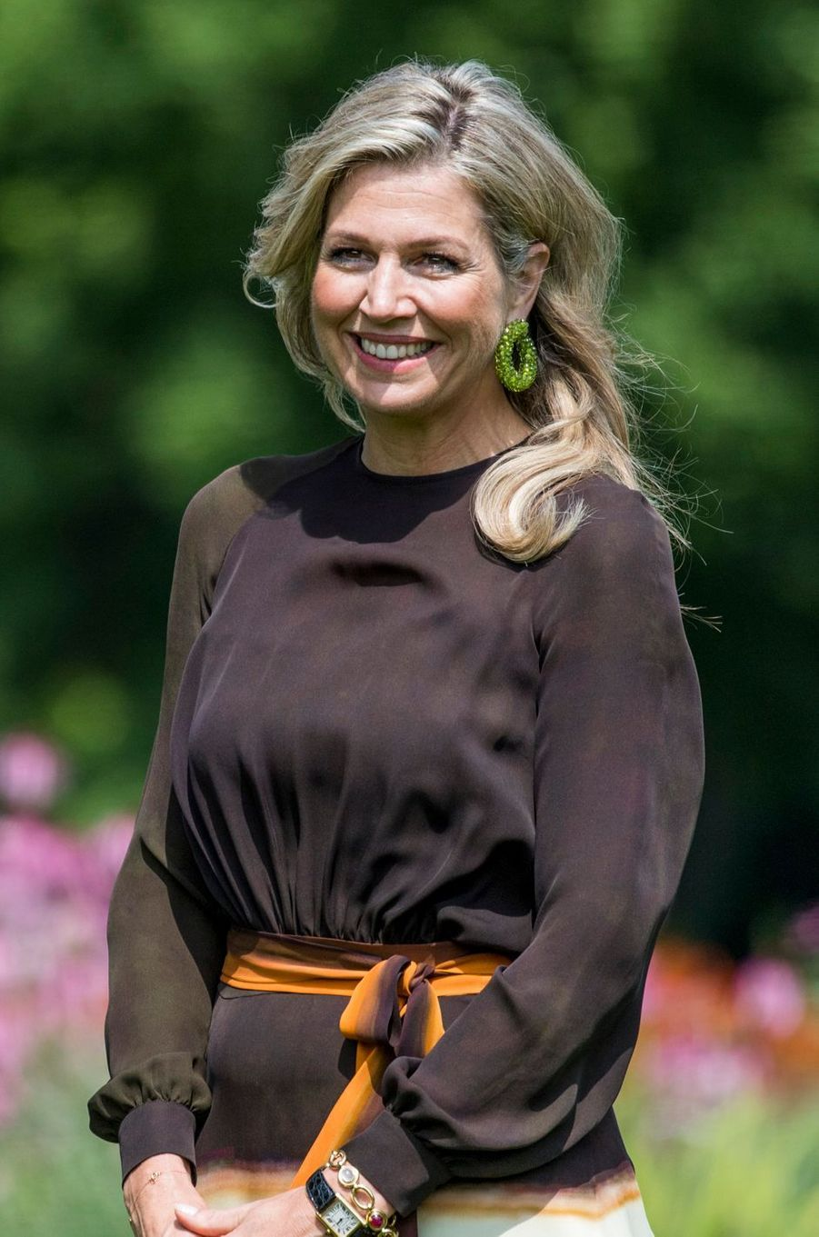 Les boucles d'oreille de la reine Maxima des Pays-Bas à La Haye, le 19 juillet 2019