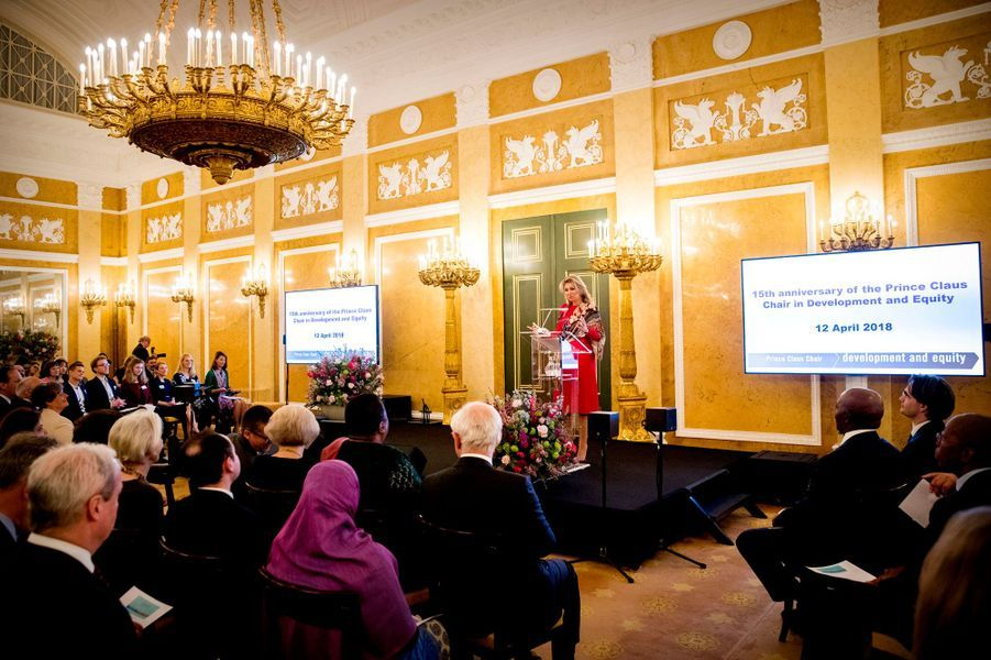La reine Maxima des Pays-Bas à La Haye, le 12 avril 2018