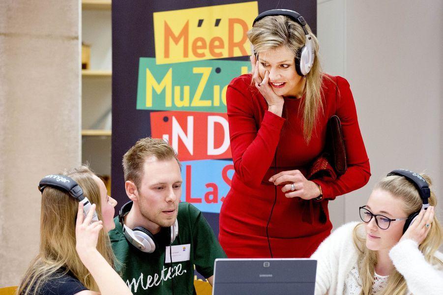 La reine Maxima des Pays-Bas avec des enseignants à Leyde, le 12 avril 2018