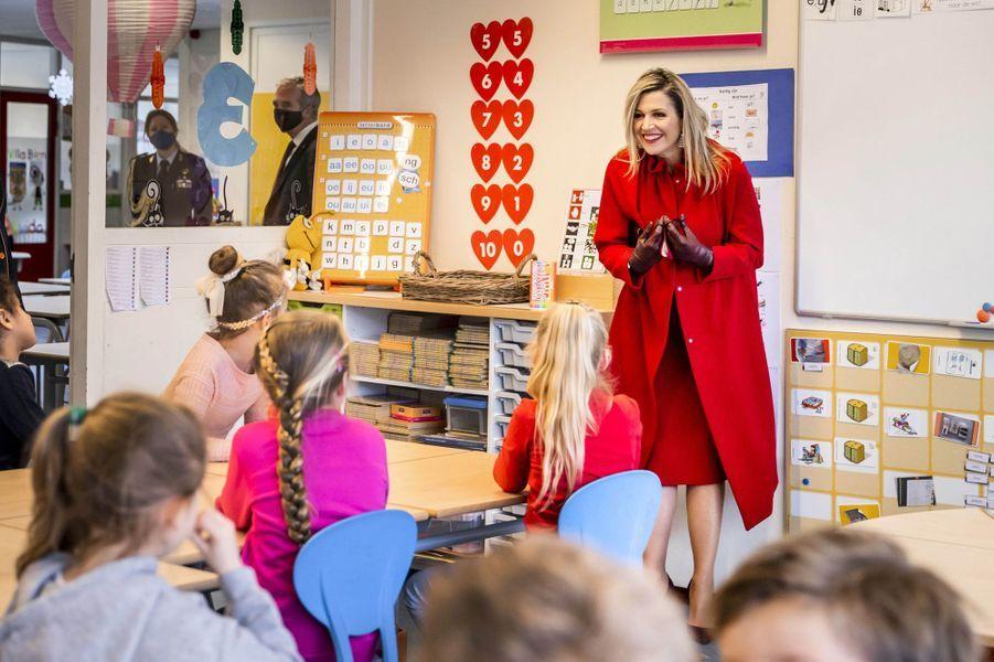 La reine Maxima des Pays-Bas à Oud-Beijerland, le 18 février 2021
