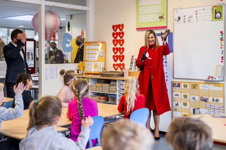 La reine Maxima des Pays-Bas, le 18 février 2021 à Oud-Beijerland