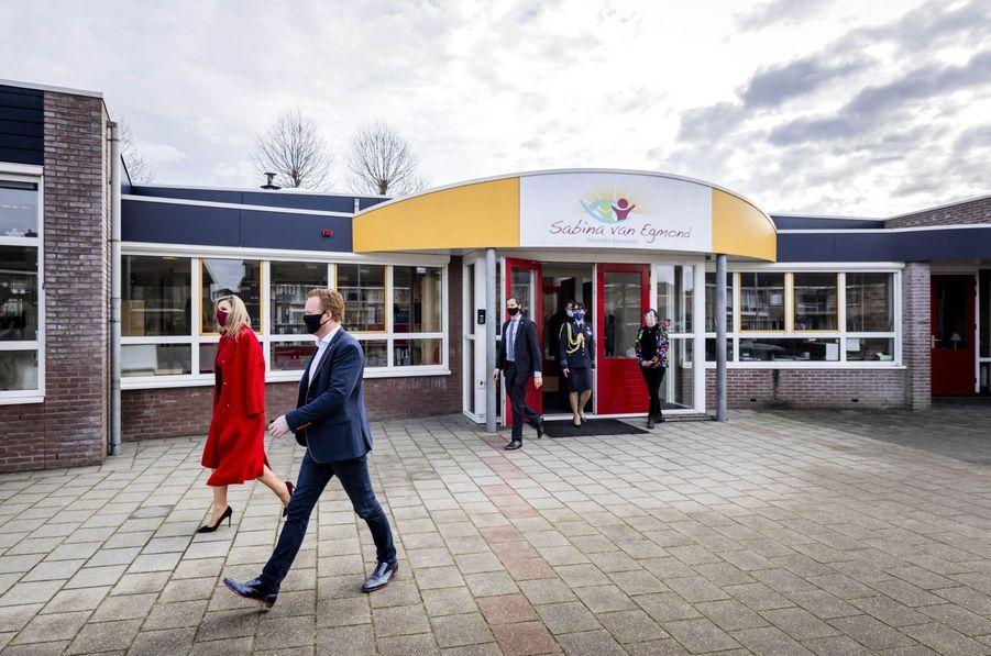 La reine Maxima des Pays-Bas dans une école primaire à Oud-Beijerland, le 18 février 2021