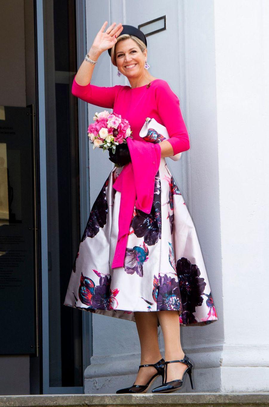 La reine Maxima des Pays-Bas dans un ensemble d'Edouard Vermeulen (Natan) en Allemagne, le 20 mai 2019