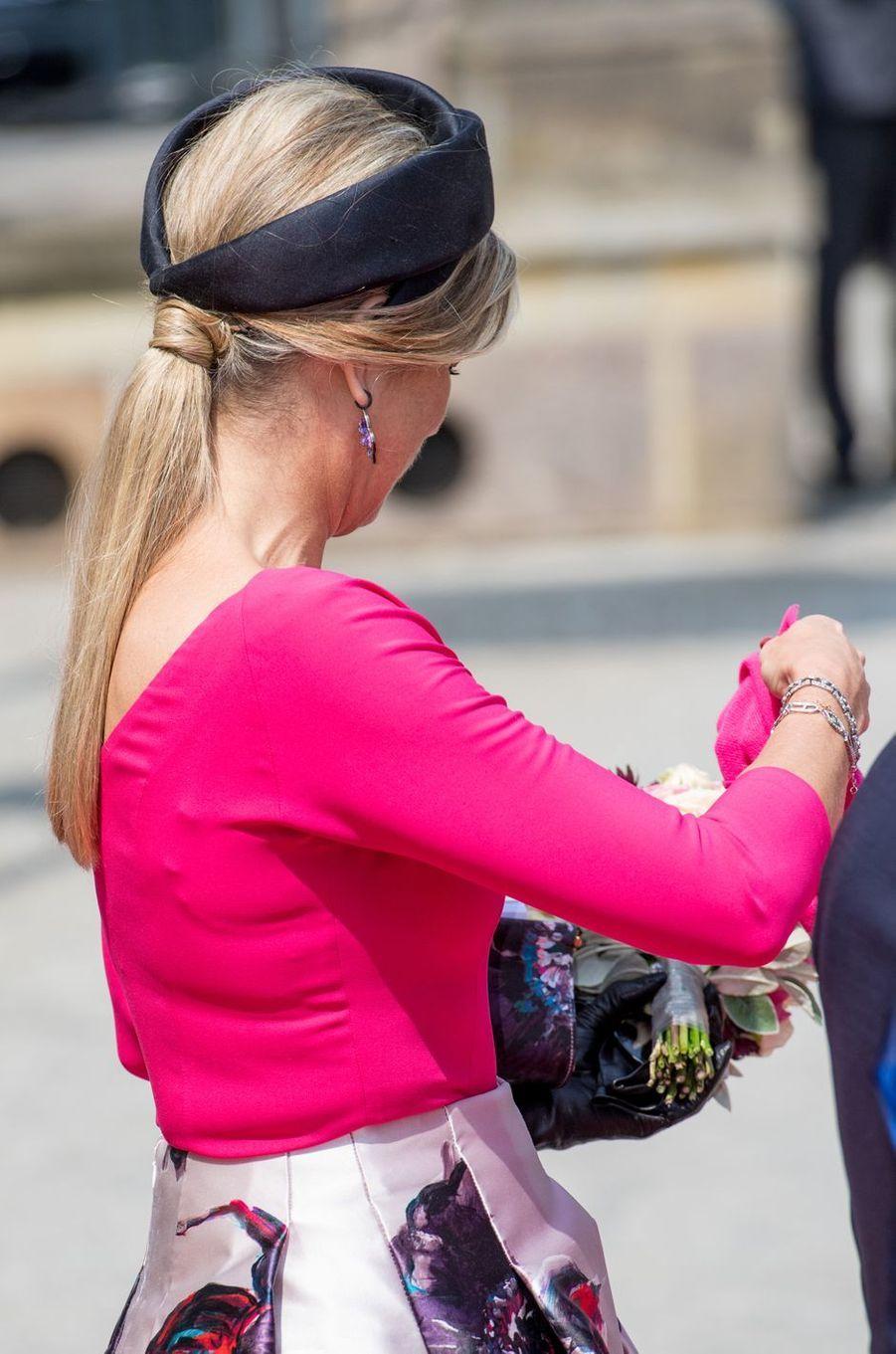Le turban de la reine Maxima des Pays-Bas en Allemagne, le 20 mai 2019