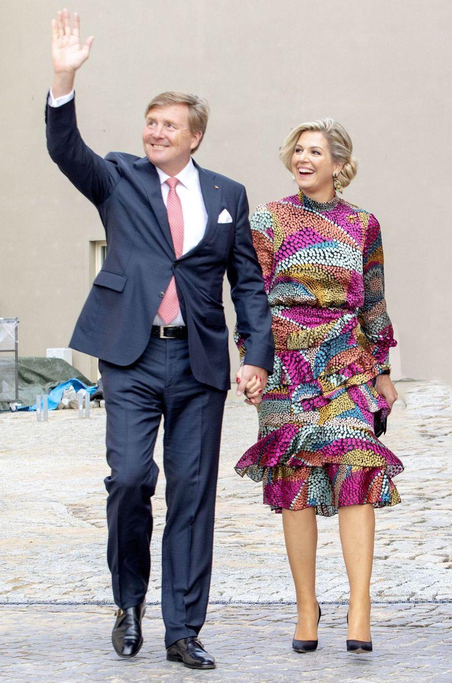 La reine Maxima des Pays-Bas dans une robe de Saloni Lodha en Allemagne, le 21 mai 2019