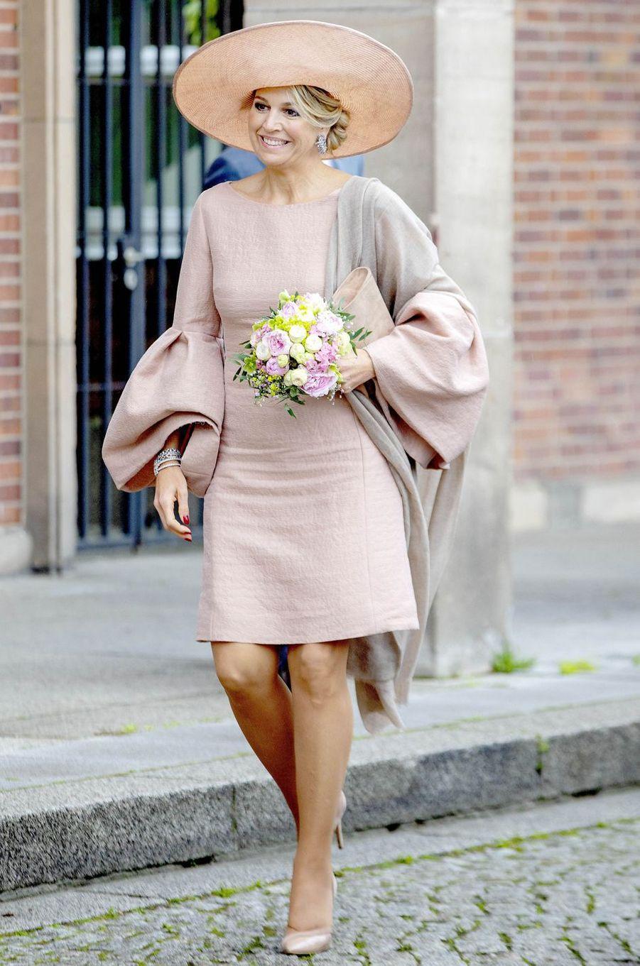 La reine Maxima des Pays-Bas dans une robe d'Edouard Vermeulen (Natan) en Allemagne, le 22 mai 2019