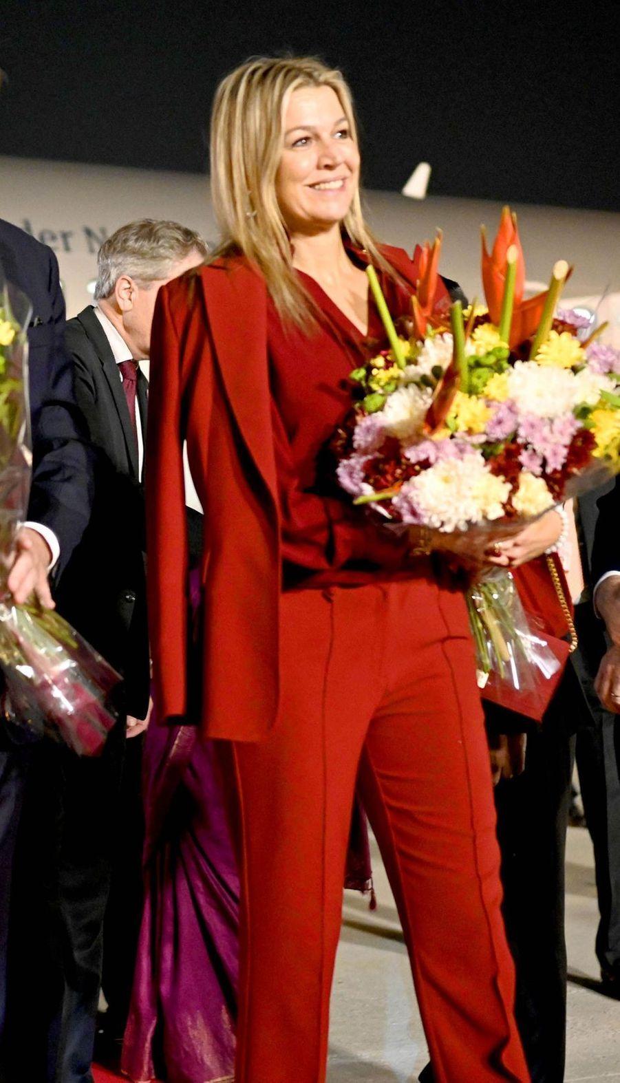 La reine Maxima des Pays-Bas à son arrivée en Inde, le 13 octobre 2019