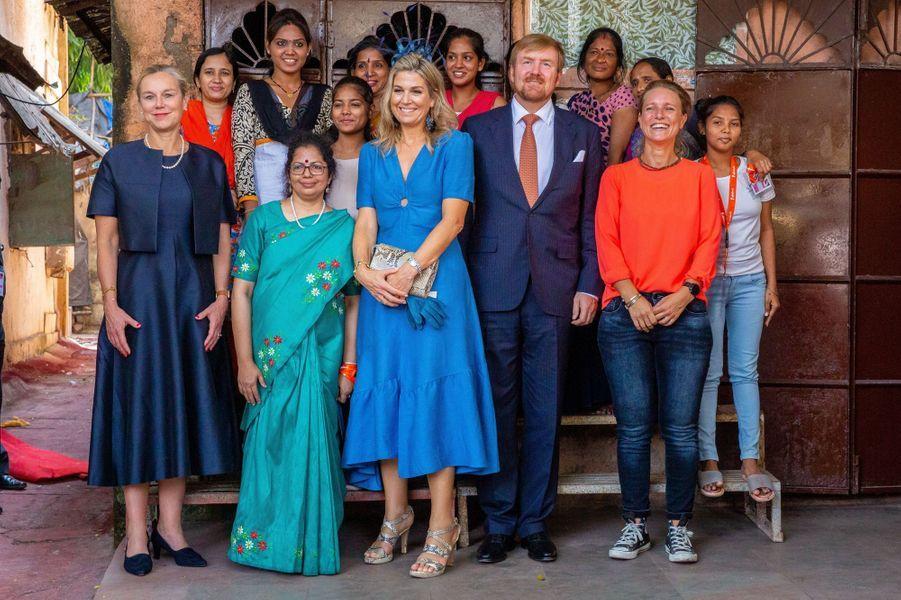 La reine Maxima des Pays-Bas dans une robe Sandro en Inde, le 16 octobre 2019