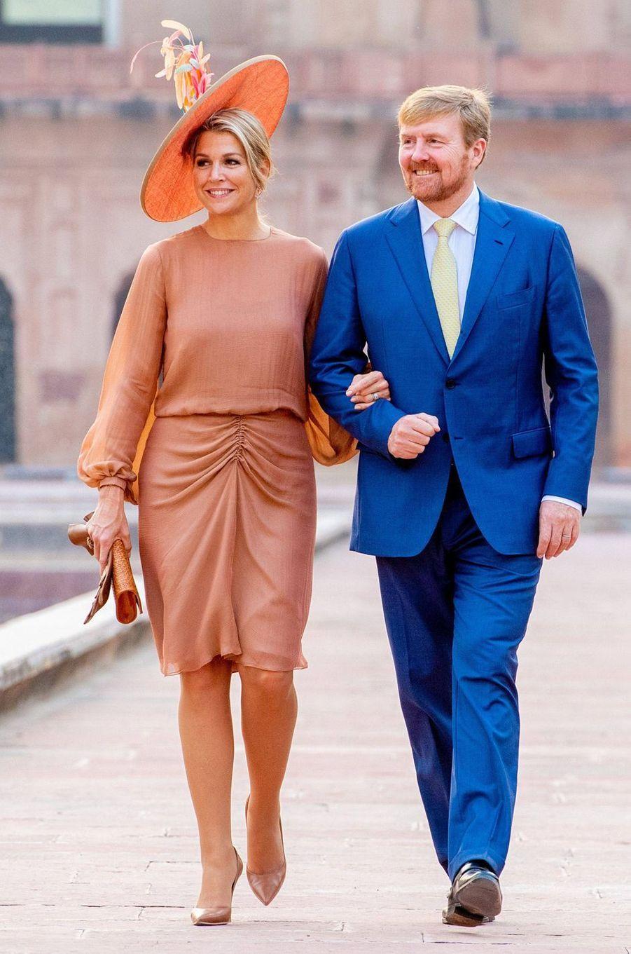 La reine Maxima des Pays-Bas dans une robe Natan en Inde, le 15 octobre 2019