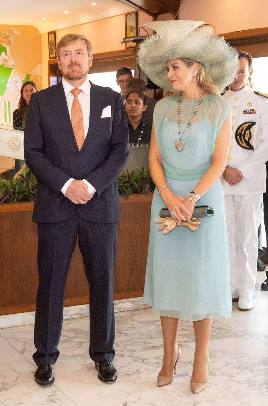 La reine Maxima des Pays-Bas dans une robe Natan en Inde, le 16 octobre 2019