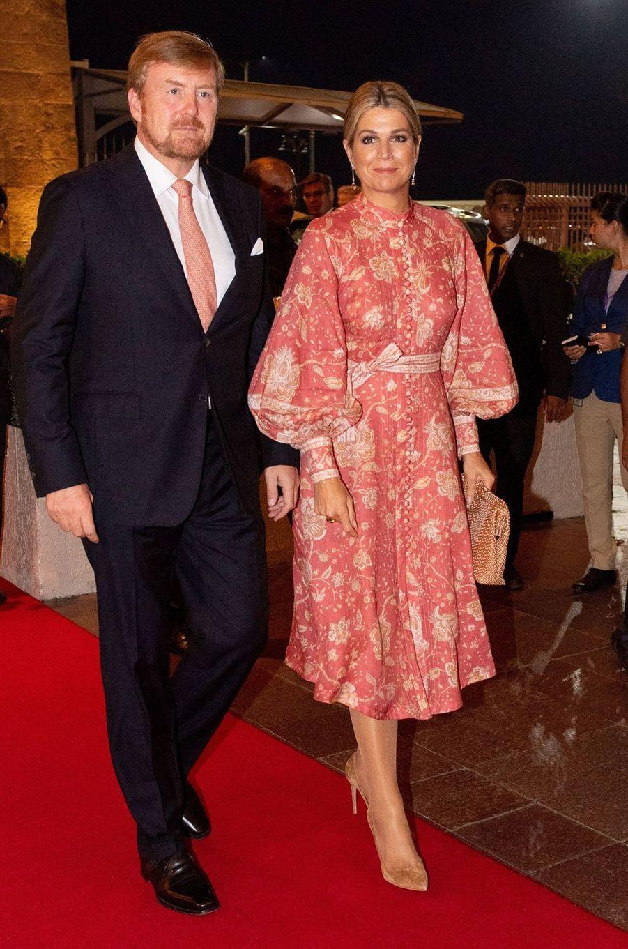 La reine Maxima des Pays-Bas dans une robe Zimmermann en Inde, le 16 octobre 2019