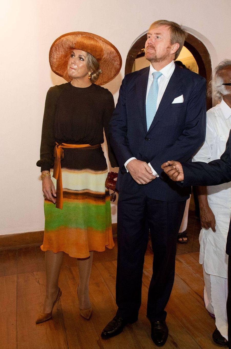 La reine Maxima des Pays-Bas dans une robe Jan Taminiau en Inde, le 17 octobre 2019