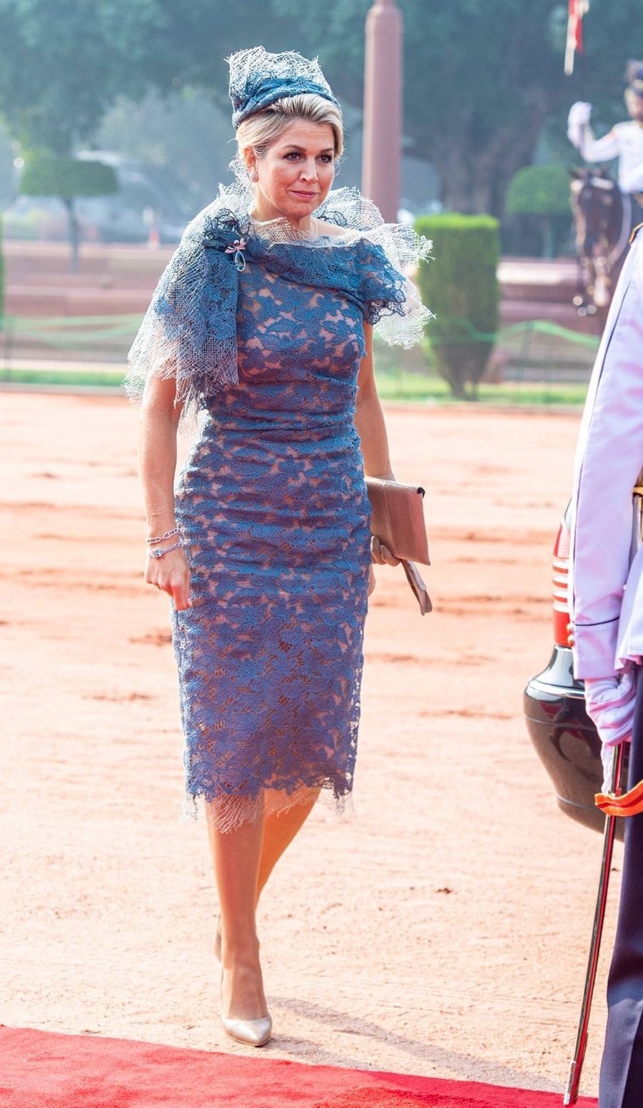 La reine Maxima des Pays-Bas dans une robe Natan en Inde, le 14 octobre 2019