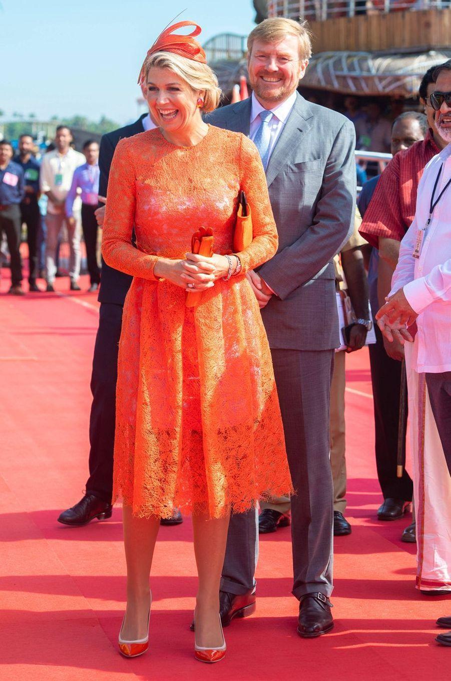 La reine Maxima des Pays-Bas dans une robe Natan en Inde, le 18 octobre 2019