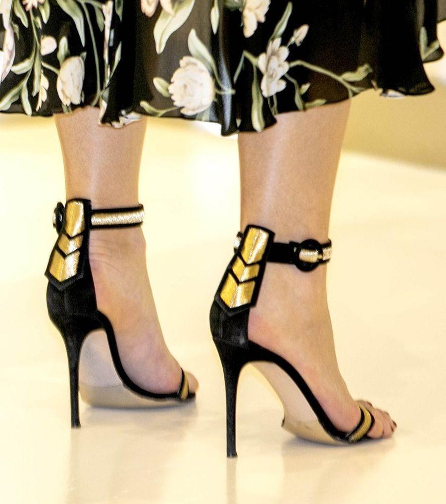 Les chaussures de la reine Maxima des Pays-Bas en Indonésie, le 10 mars 2020