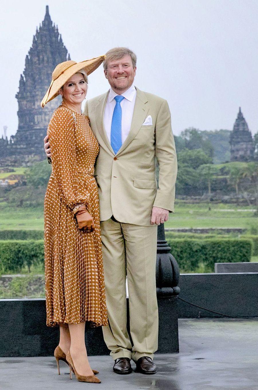 La reine Maxima des Pays-Bas dans une robe Zimmermann en Indonésie, le 11 mars 2020