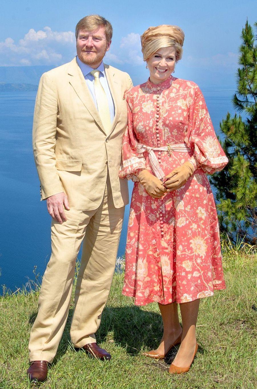 La reine Maxima des Pays-Bas dans une robe Zimmermann en Indonésie, le 12 mars 2020
