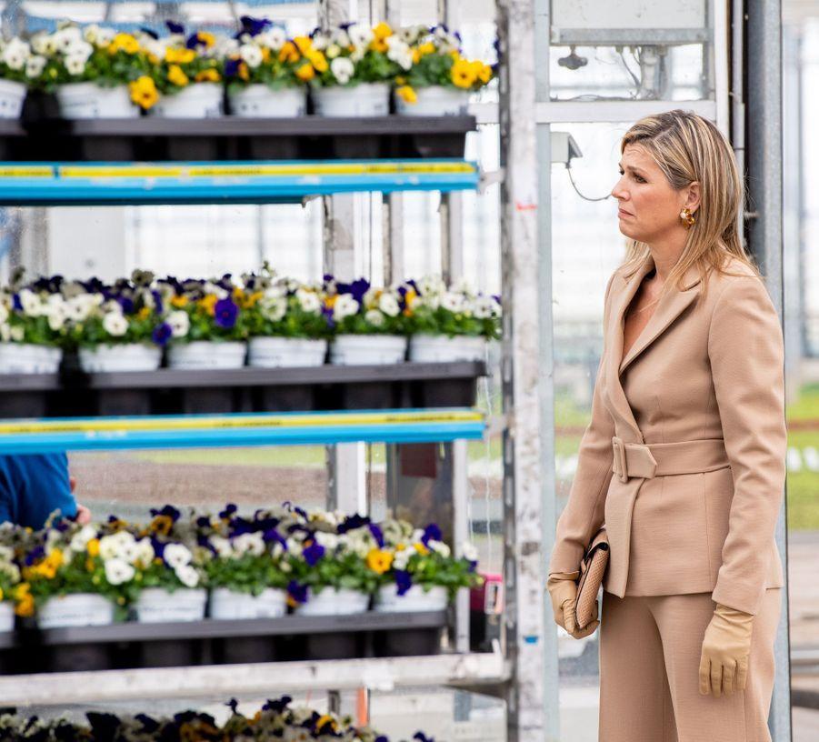 La reine Maxima des Pays-Bas en visite à Honselersdijk, le 27 mars 2020