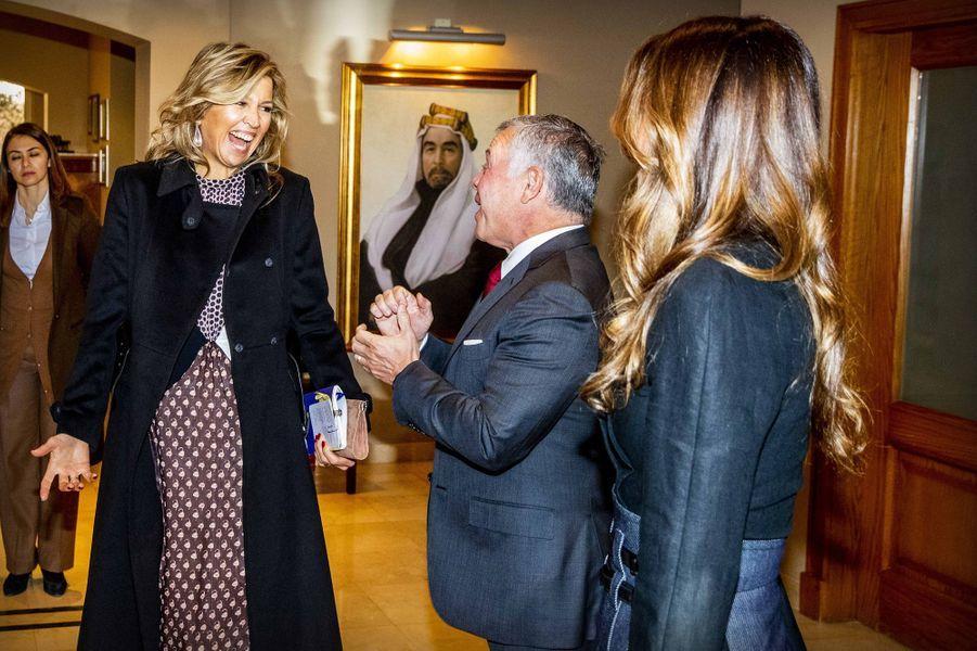 La reine Maxima des Pays-Bas reçue par la reine Rania et le roi Abdallah II de Jordanie à Amman, le 12 février 2019
