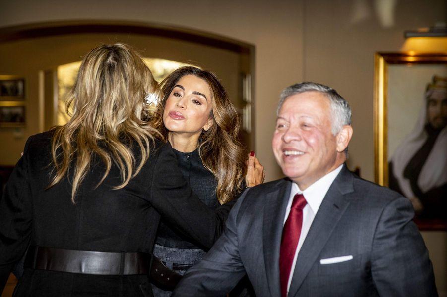 Les reines Maxima des Pays-Bas et Rania de Jordanie avec le roi Abdallah II de Jordanie à Amman, le 12 février 2019