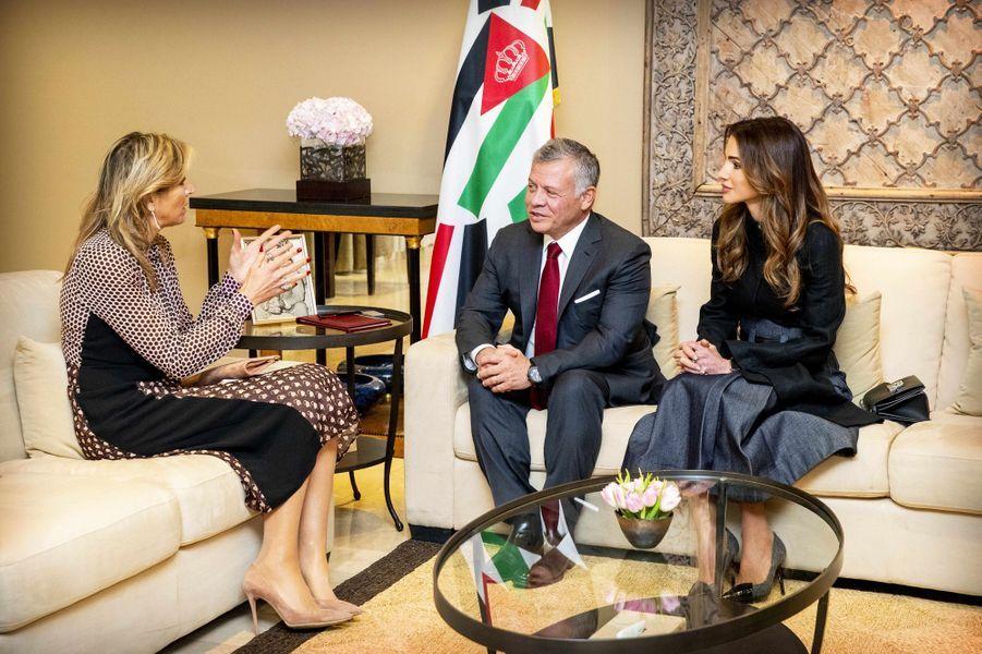La reine Maxima des Pays-Bas avec la reine Rania et le roi Abdallah II de Jordanie à Amman, le 12 février 2019