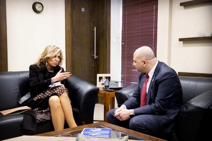 La reine Maxima des Pays-Bas avec le ministre jordanien des Technologies de l'information et de la communication à Amman, le 12 février 2019