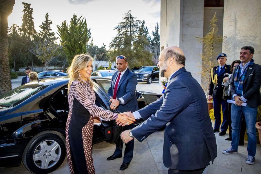 La reine Maxima des Pays-Bas avec le Premier ministre jordanien à Amman, le 12 février 2019