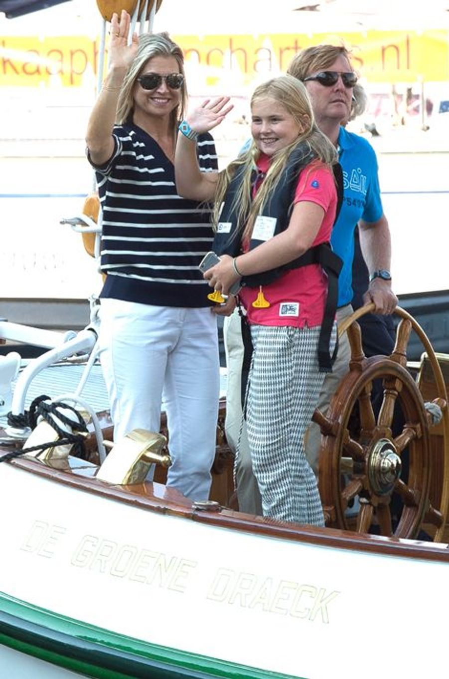La reine Maxima et le roi Willem-Alexander des Pays-Bas avec la princesse Catharina-Amalia au Sail Amsterdam, le 22 août 2015