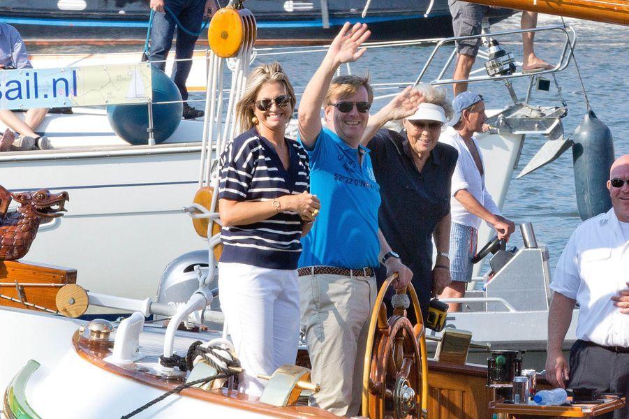 La reine Maxima, le roi Willem-Alexander et l'ex-reine Beatrix des Pays-Bas au Sail Amsterdam, le 22 août 2015