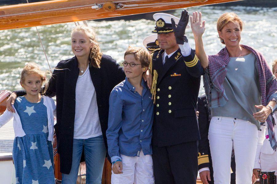 Le prince Maurits, la princesse Marilène et leurs enfants au Sail Amsterdam, le 23 août 2015