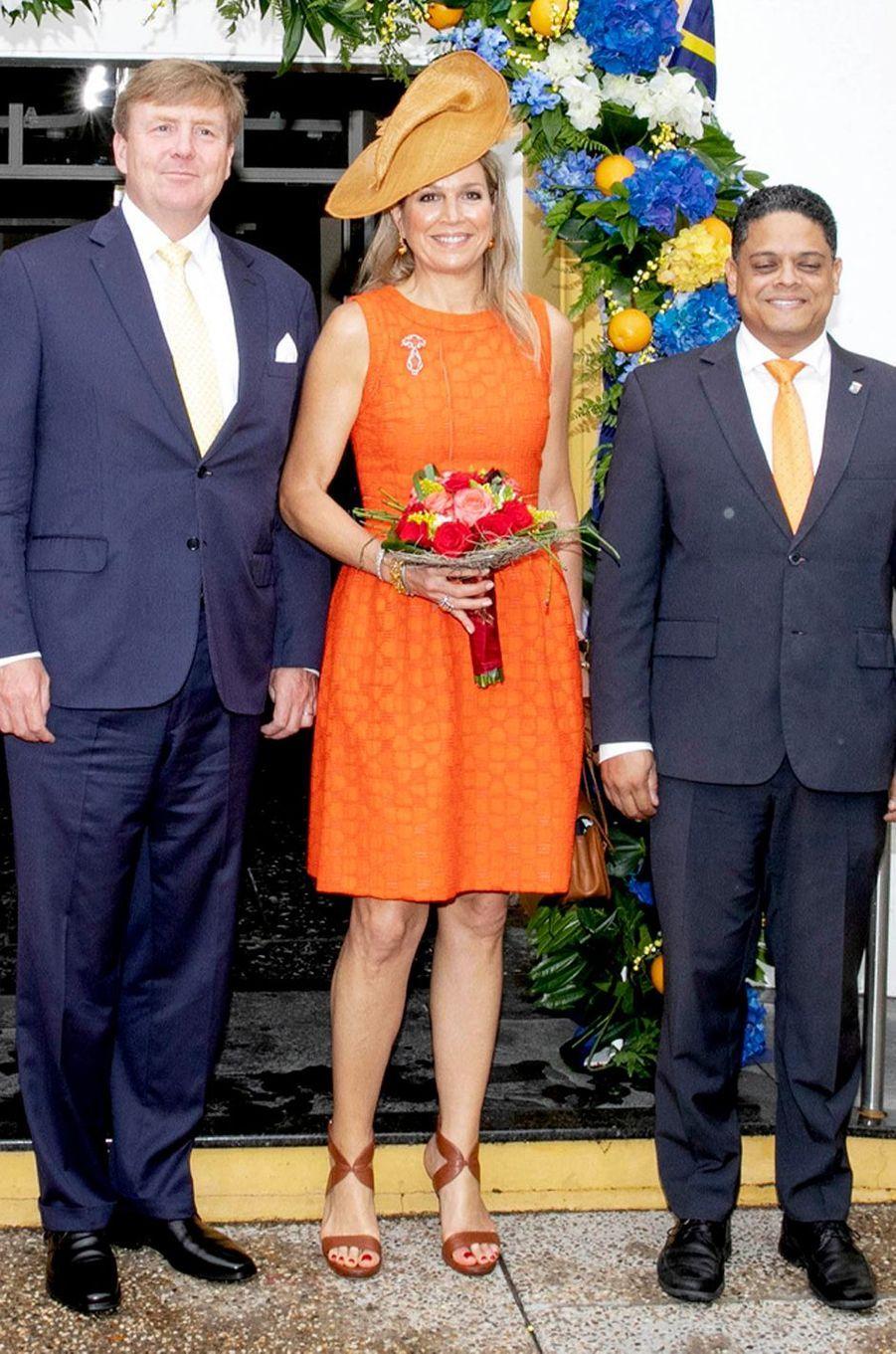 La reine Maxima des Pays-Bas en Natan sur l'île de Curaçao le 1er juillet 2018
