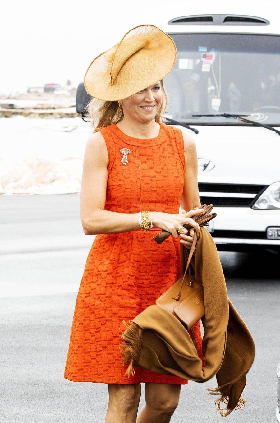 La reine Maxima des Pays-Bas sur l'île de Curaçao le 1er juillet 2018