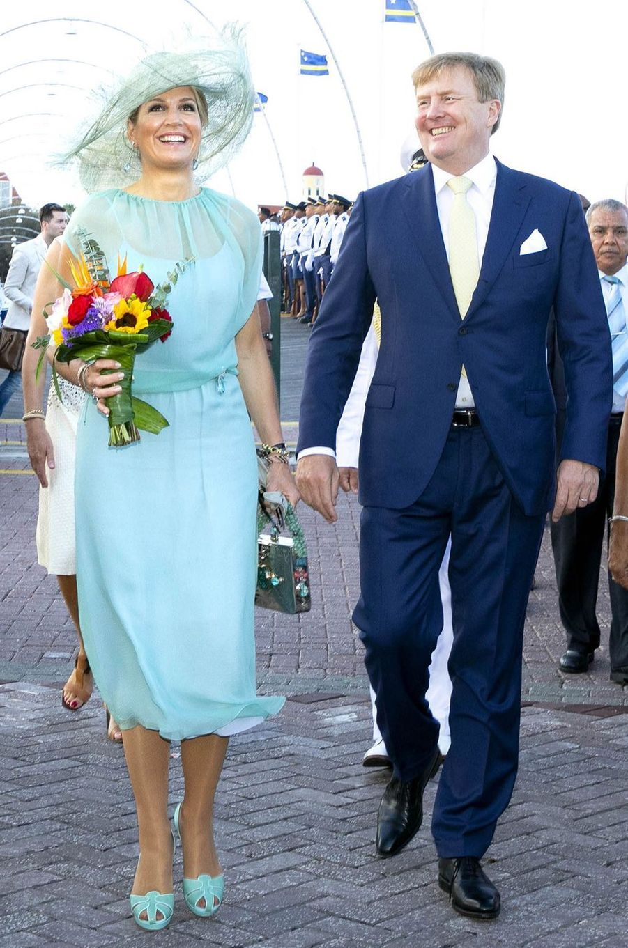La reine Maxima des Pays-Bas dans une robe Natan sur l'île de Curaçao le 2 juillet 2018