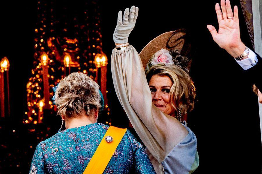 La reine Maxima des Pays-Bas et la princesse Laurentien à La Haye, le 18 septembre 2018