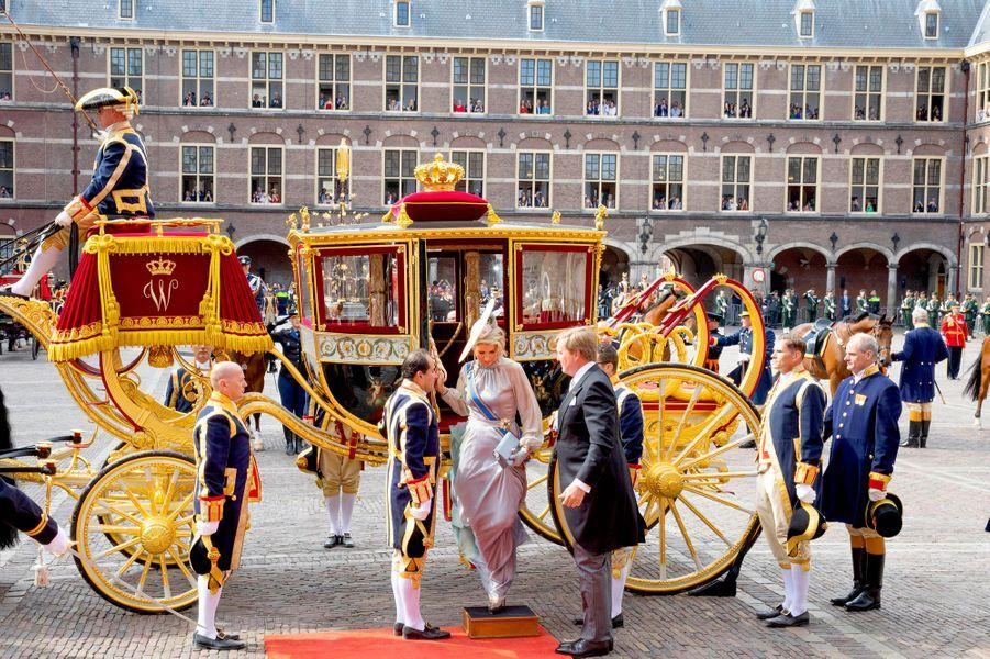La reine Maxima et le roi Willem-Alexander des Pays-Bas à La Haye, le 18 septembre 2018, jour du Prinsjesdag