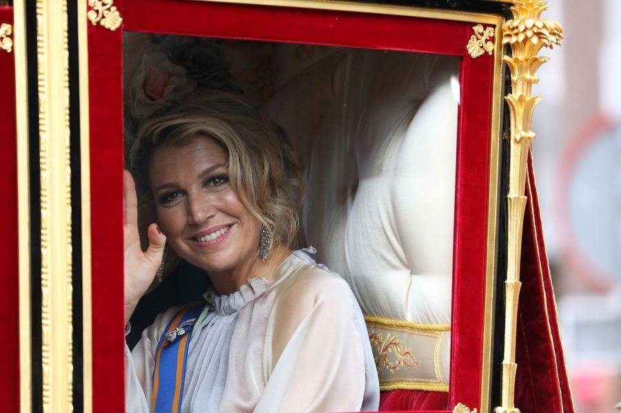 La reine Maxima des Pays-Bas dans le carrosse de verre à La Haye, le 18 septembre 2018