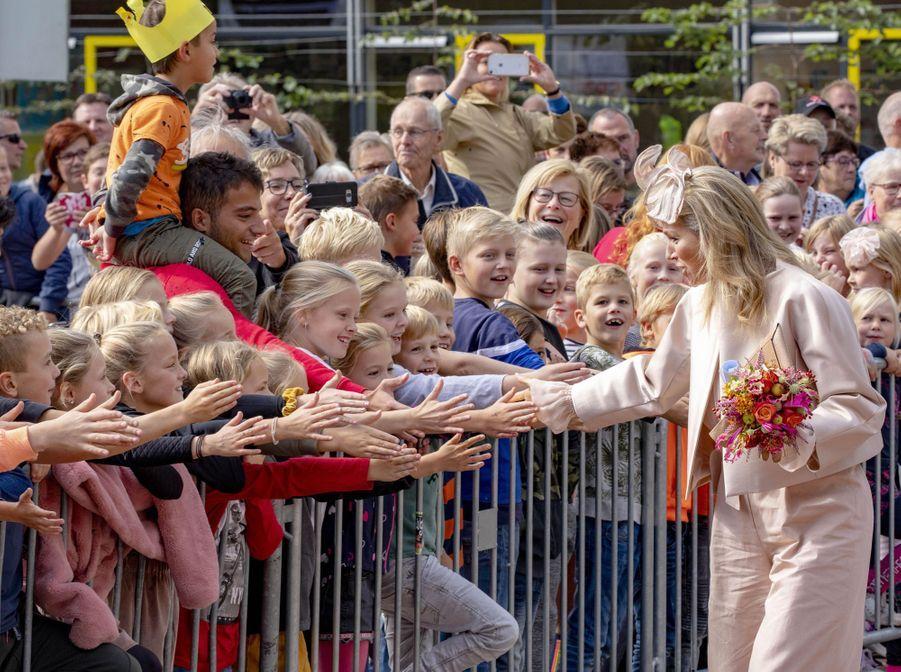 La reine Maxima des Pays-Bas dans le Drenthe, le 18 septembre 2019