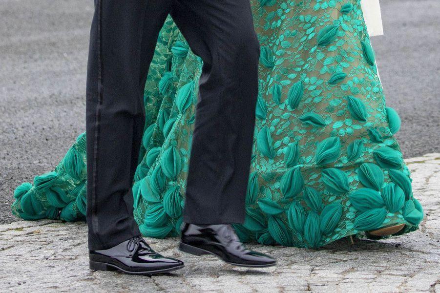 Détail de la robe de la reine Maxima des Pays-Bas à Dublin, le 12 juin 2019