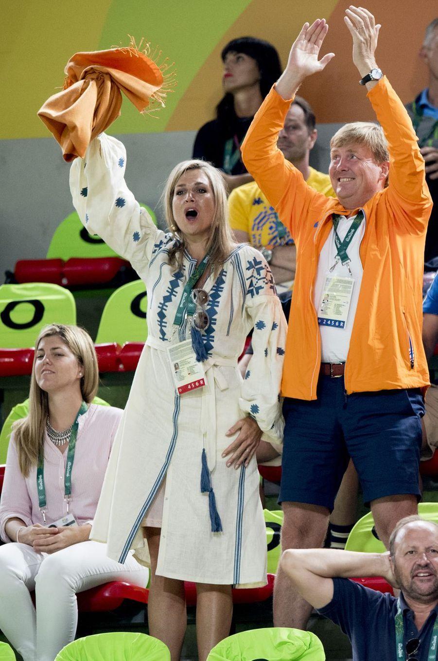 La reine Maxima des Pays-Bas, avec le roi Willem-Alexander, aux JO de Rio, le 15 août 2016