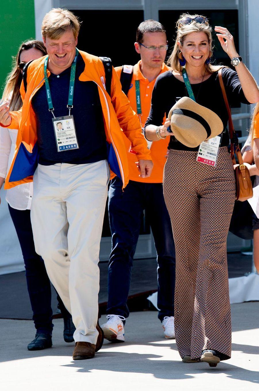 La reine Maxima des Pays-Bas, avec le roi Willem-Alexander, aux JO de Rio, le 17 août 2016